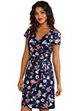 YUMI Bird and Floral Wrap Ruched Dress Robe décontractée, Navy, 42 Femme