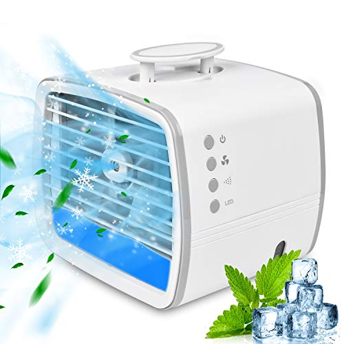 Portable Air Conditioner, Personal Air Cooler, 3-in-1 Evaporative Conditioner Fan, Mini USB Cooling Fan with 7 Colors LED Lights for Room, Office or Camping