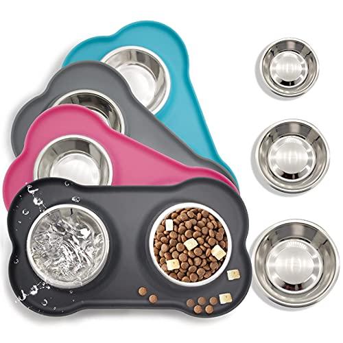 Ciotole per cani e gatti in acciaio inossidabile 2x200ml, 2 ciotole per mangiatoie per animali domestici con base in tappetino silicone antiscivolo,Assicurazione,Durevole (nero)