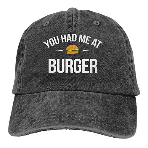 Hoswee Unisex Kappe/Baseballkappe, You Had Me at Burger Men/Women Washed Adjustable Baseball Cap Jeans Back Closure Flat Bottom Cap
