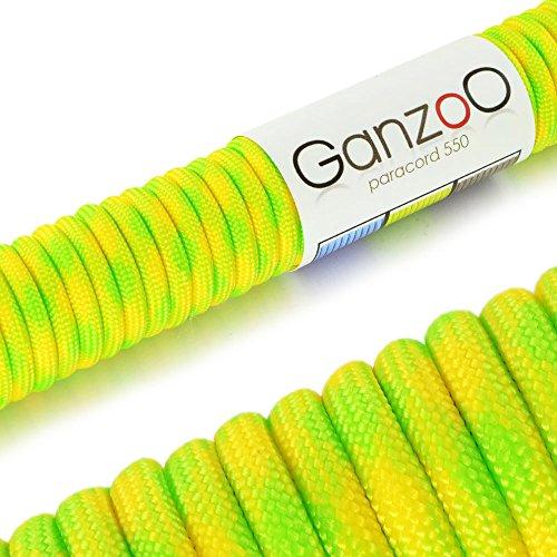Paracord 550 Seil Neon Lemon | 31 Meter Nylon-Seil mit 7 Kern-Stränge | für Armband | Knüpfen von Hunde-Leine oder Hunde-Halsband zum selber machen | Seil mit 4mm Stärke | Mehrzweck-Seil | Survival-Seil | Parachute Cord belastbar bis 250kg (550lbs) gelb, neon-grün - Marke Ganzoo
