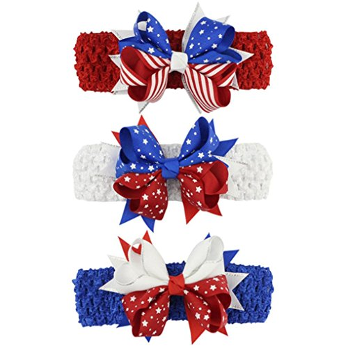 Lurryly Baby Girls Toddler Infant Kids Star Print 4th of July Hairpin Headband Clip Accessories (White)
