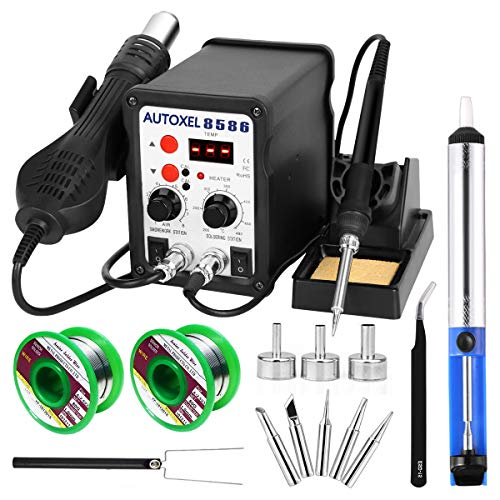 AUTOXEL 2 in 1 Soldering Station,Digital Display SMD Hot Air Rework Station and Soldering Iron, Solder Wire,Tweezers,Desoldering Pump,700 W 480℃ 110 V…