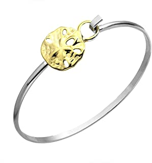 Sand Dollar Sea Life Latch Cuff Bracelet Twotone