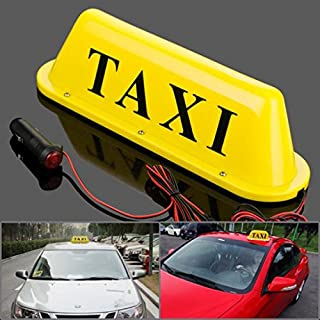 Taxi Cab Roof Top Yellow Illuminated Sign Topper Car LED Bulbs 12V Super Bright Light Magnetic Waterproof Sealed Base 10 1/2