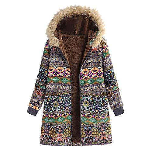 KaloryWee Vintage Damen Wollmantel Bedruckte Jacke Warm Skorpion Mantel mit Kapuze Mehrfachauswahl