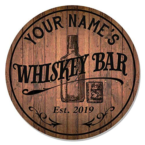 Personalized Whiskey Bar Sign 14' Round Wood Sign Bourbon Bar Accessories Bar Decor Gift B3-00140051001