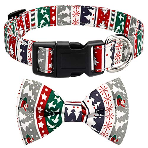 Christmas Bow Tie Dog Collar, Adjustable Dog Cat Collar and Bow Tie Durable Buckle Light Collar for Dogs Cats Pets Soft and Comfortable (Medium)