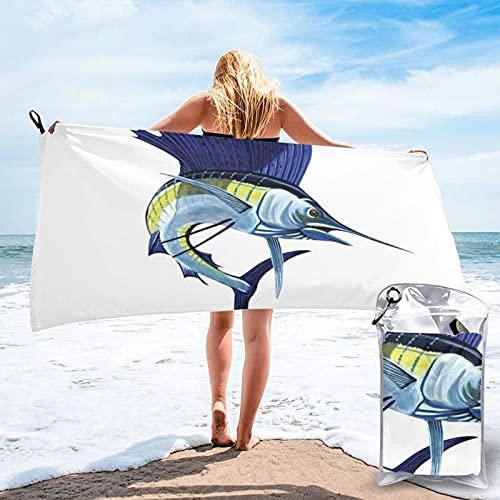Mgbwaps Toalla de baño azul Sailfish, toalla de gimnasio, toalla de playa, uso multiusos para deportes, viajes, súper absorbente, microfibra suave de secado rápido, ligero ✅