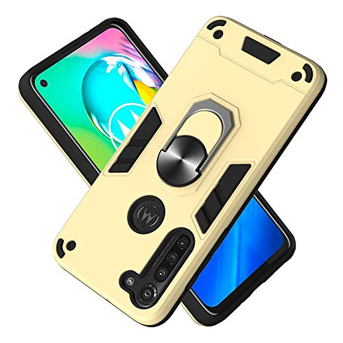 FAWUMAN Armor Phone Case 2in1 Phone Protective Case with Phone Ring PC+ TPU Double-layer Phone Cover for Motorola Moto G8 Power (Golden)