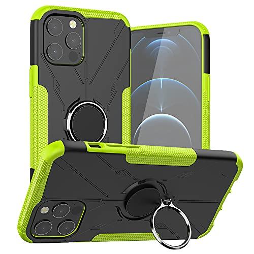 Lavender1 Funda con iPhone 12 Pro Max, funda de teléfono móvil Armor de silicona TPU Bumper Hard PC dura dura 360 ° Giratorio anillo soporte teléfono móvil Case con iPhone 12 Pro Max Case (E)