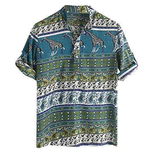 XuanhaFU Polo Camisa de Manga Corta Estampado Etnico de Verano para Hombre (Verde,L)