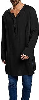 Taoliyuan Mens Abaya Henley Thobe Arabic T Shirt Loose Fit Long Sleeve Kaftan Hip-Hop Longline Tops