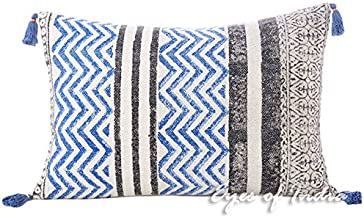 Eyes of India - 16 X 24 Black Blue Dhurrie Printed Colorful Decorative Pillow Cover Throw Lumbar Long Bolster Sofa Cushion Couch Bohemian Indian Boho Seating Cover ONLY