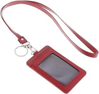 B Baosity Pochette Verticale pour Cartes avec Porte-badge D'identification En Cuir PU avec Lanière - rouge, comme décrit