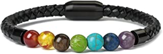 7 Chakra Lava Rock Bracelet Healing Balancing Genuine Leather Bracelets with Magnetic Clasp Tiger Eye Agate Howlite for Men