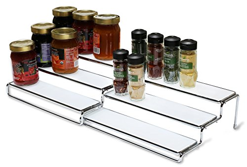 DecoBros 3 Tier Expandable Cabinet Spice Rack Step Shelf Organizer (12.5~25 Inch), Chrome