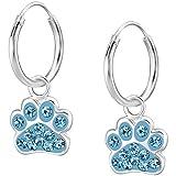 JAYARE Ohrringe Mädchen Hunde-Pfoten Tatzen 925 Sterling Silber Glitzer-Kristalle blau Kinder Creolen