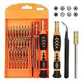 DAZAKA Juego de Destornilladores Mini Precisión 33 en 1 Herramientas Desmontar Kit de Reparación para Smartphone, PC, Cámara, Reloj, Tablet PC, Gafas