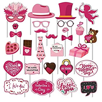Valentines Day Photo Booth Props Kit 28PCS Photography Props Funny DIY Picture Selfie Accessories for Valentine's Day Wedding Party Suppliers Favor Birthday Shower Decoration Decor