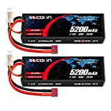 Socokin 2S 5200mAh 80C 7.4V Lipo Battery with Hard Case Deans T for RC Evader BX Car RC Buggy RC Boat Drones Traxxas Slash 1/10 Scale Racing Truck Racing RC Heli Airplane (2 Pack)