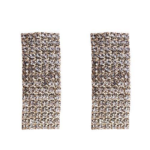 WANG XIN Moda exagerada Simples Pendientes de Diamantes Mujer Nueva Primavera Pendientes Bohemios