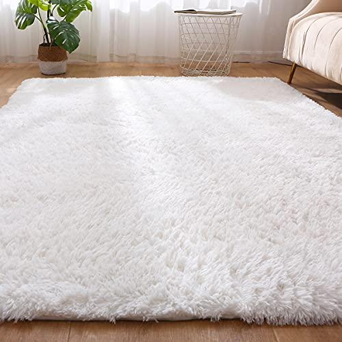 Leesentec Tapis Chambre Hirsute Moderne Tapis Salon Grand Lavable Imprimé Tapis Rectangulaire Taille Doux au Toucher pour la Maison (Blanc, 160_x_200_cm)
