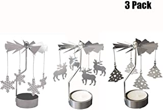 OLANZH Spinning Tea Light Holder,3Pcs Metal Rotating Candle Holder Christmas Metal Candlesticks Snowflake Reindeer Xmas Tree Design for Wedding Event Christmas