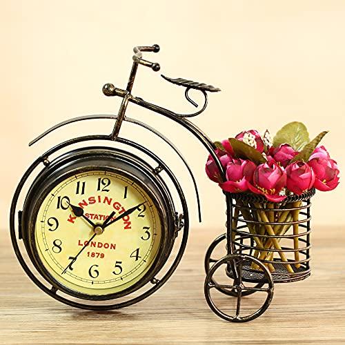 Porcyco Retro Uhr, Stifthalter Fahrraduhr Tisch Schreibtisch Vintage Quarz Dreirad Wecker Altmodische 5-Zoll-Uhr Batteriebetrieben, Schmiedeeisen Ornamente für Home Nachttisch