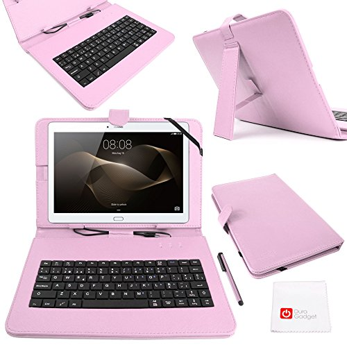 DURAGADGET Funda/Teclado ESPAÑOL Rosa 10.1' para Tablet Huawei MediaPad M2 10 - Conexión MicroUSB + Lápiz Stylus