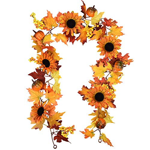 Mazheny 6 Ft Fake Fall Maple Leaf Berries Sunflower Pumpkin Garland Hanging Vine Artificial Autumn Decoration for Wedding Party Dinner Door Frame Backdrop Decor (Maple Leaf Pumpkin)