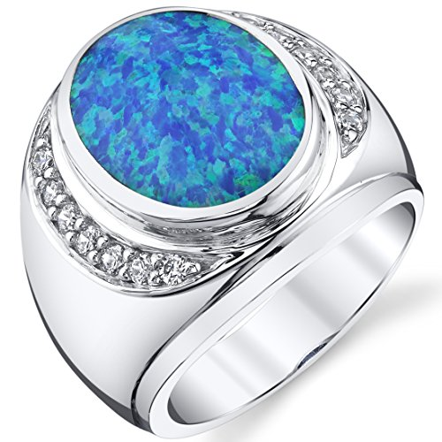 Men's Created Blue Opal Godfather Ring Sterling Silver Size 9