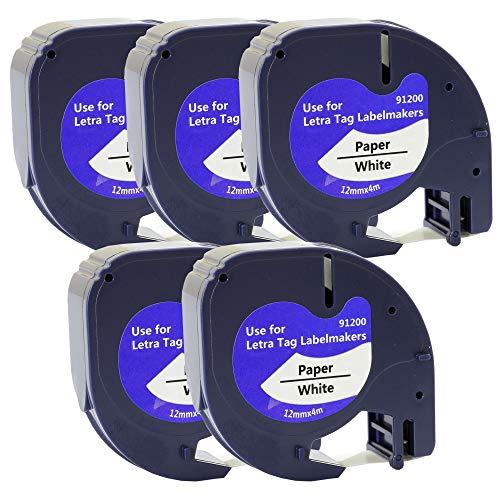 Prestige Cartridge 5 Kassetten Ersatz für Dymo 91200 S0721510 S0721660 schwarz auf weiß 12mm x 4m Papierband Schriftband kompatibel für DYMO LetraTag LT-100H LT-100T LT-110T QX50 XR XM 2000 Plus