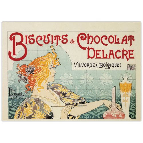 Biscuits & Chocolate Delacre by Privat Livemont, 35x47-Inch Canvas Wall Art