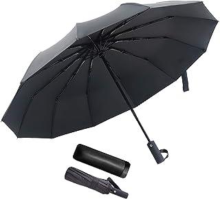 JEVDES Parapluie Pliant Coupe-Vent à Ouverture Automatique Parapluie Automatique de Voyage à 12 Nervures avec Sac pour Par...
