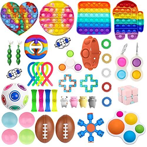 Fidget Toy Packs, 41 Piezas Juguetes Sensoriales Fidget Baratos, Juguetes de Mano Anti Ansiedad para Apretar, Stress Ball y Anti Stress Relief Toy Stress Ball para Niños Adultos Regalos de Fiesta