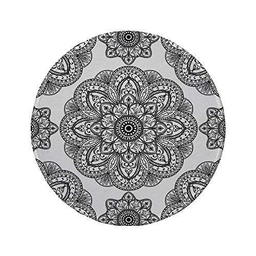 Rutschfreies Gummi-rundes Mauspad Mandala-Dekor verziertes Mandala-Muster mit symmetrischer Form und Fliesen Arabesque Persian Image Schwarz 7.9