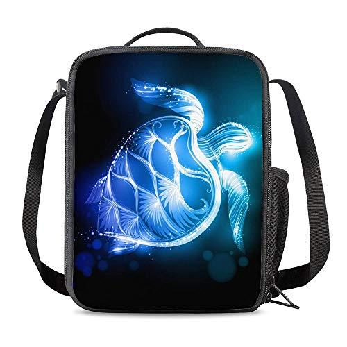 PrelerDIY Blue Galaxy Sea Turtle Lunch Bag Tote Lunch Box Food Bag for Boys Girls with Side Pocket & Shoulder Strap