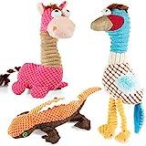 VIEWLON Hundespielzeug Quietschendes, 3er-Pack Hund Plüschspielzeug Set, Langlebiges Kauspielzeug, Interaktives Trainingsspielzeug für kleine und mittlere Welpenhunde - Giraffe, Vogel und Eidechse.