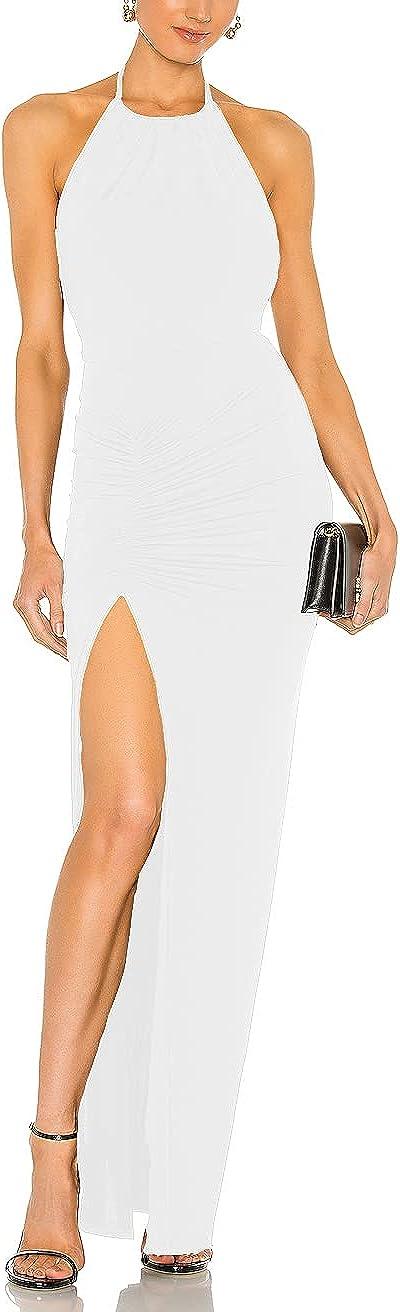 Maliandyang Women's Backless Sexy Halter Neck Ruched Split Long Dress Off Shoulder Bodycon Maxi Dress D1004