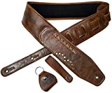 Antigo Adjustable Length Leather Guitar Strap/Belt for Acoustic/Electric/Folk/Bass Ukulele Guitars (2.25 Inch/6 cm Wide, Brown)