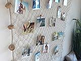 endlosschenken Fischernetz Deko maritim Fotonetz - 30 Klammern 10 Herzklammern DIY Netz Wanddekoration Bilderrahmen Bildergalerie Natur (2m x 1m) - 5