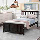 Twin Size Wood Platform Bed, Wood Bed Frame with Headboard and Footboard Wood Slat Support (Espresso)