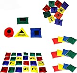 Bean Bag Combo - Set of 12 Plain, Set of 26 Alphabet, Set of 1-10 Numbered, Set of 4 Shape for Kids Learning Education Sports Games Classroom Activities