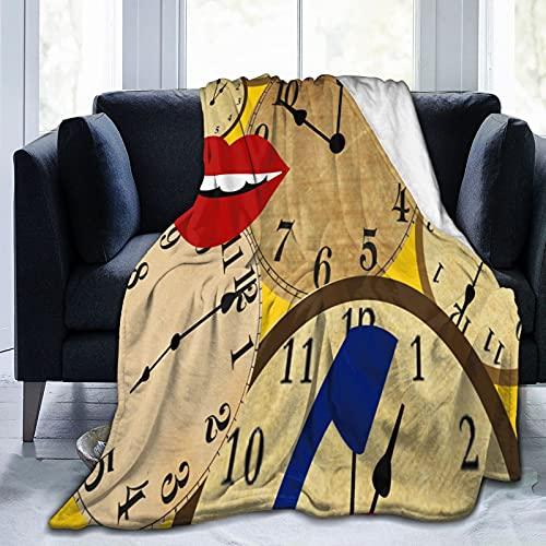 Manta de forro polar para decoración del hogar, reloj con labios rojos, ultra suave, micro ligera, manta para sala de estar