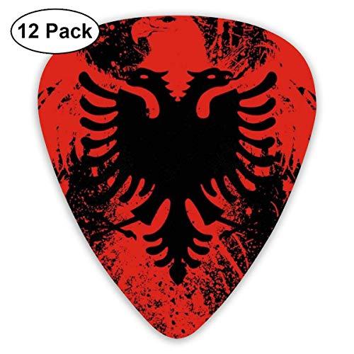 Premium Guitar Pick, halbrunde Gitarren-Plektren (rote schwarze albanische Flagge von Eagle Bird Guitar Picks, 12er Pack)