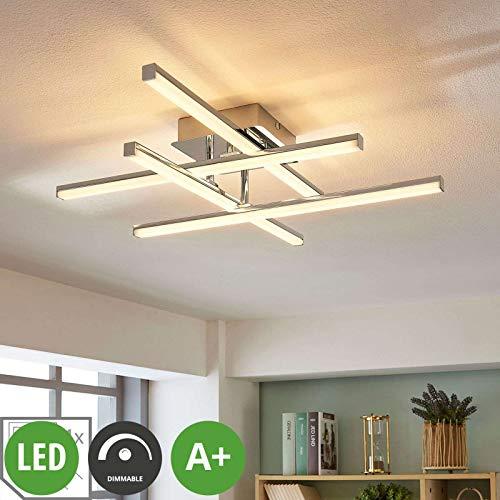 Lindby LED Deckenleuchte \'Korona\' dimmbar (Modern) in Chrom aus Metall u.a. für Wohnzimmer & Esszimmer (4 flammig, A+, inkl. Leuchtmittel) - Lampe, LED-Deckenlampe, Deckenlampe, Wohnzimmerlampe