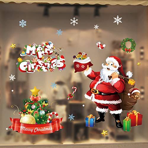 WELLXUNK Weihnachten Fenstersticker, Fensteraufkleber PVC Fensterbilder Weihnachten Fensterdeko selbstklebend Fensterfolie Weihnachtsdekoration (SR7)
