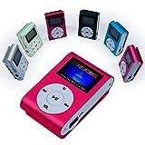 OcioDual Mini Reproductor MP3 Player Clip LCD Aluminio hasta 32Gb Micro SD Radio FM Rosa
