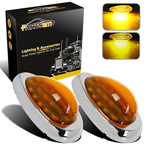 Partsam 2Pcs 6 Amber Sleeper Cab LED Side Marker/Turn Led Light Clearance Surface Mount 15 LED Replacement for Freightliner Century/Columbia Amber Oval Side Marker and Turn Signal Sealed Light